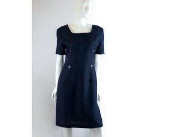 Elegant Blue Dress, Brooks Brothers Navy Linen, Vintage Size 12