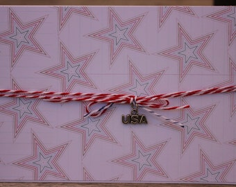 4th of July, Red, White & Blue Stars, Happy 4th USA, Independence Day Card, July 4 Birthday