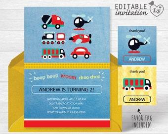 Transportation INSTANT DOWNLOAD Editable Invitation /Transportation Invitation /Transportation Party/Transportation /Transportation Party