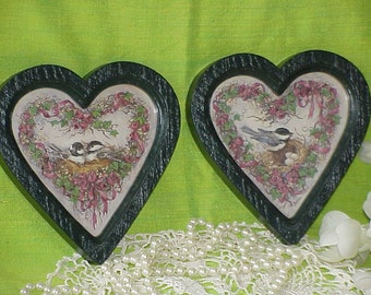 2 Shabby Chic Vintage Cottage Homco Green Heart Frames  with Birds & Flowers 1987