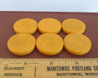 6 Vintage Butterscotch Bakelite Marbled Discs / Game Pieces