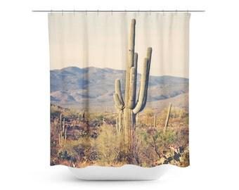 Cactus Shower Curtain - Desert Home Decor - Rustic Bathroom Decor - Southwest Photo - Arizona Decor - Bathroom Decor - Tan Green Brown