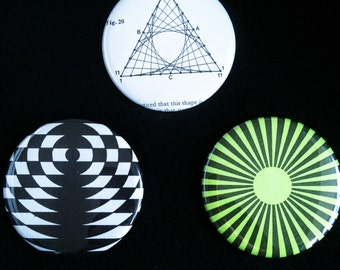 Graphica Hypnotica – XL badge trio with psychedelic geometric prints