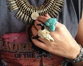 Resin Bison Bull Buffalo Cow Steer skull statement coctail adustable ring Boho chic Native Southwest Tribal Cowgirl carved ring