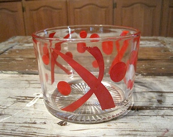 Vintage Red Print Glass Ice Bucket