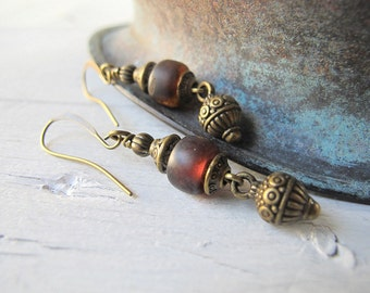 Dark Red Dangles, Bohemian Earrings, Czech Glass Jewelry, Bohemian Bijoux, Boho Chic Earrings, Festival Fashion, Antiqued Brass Jewelry