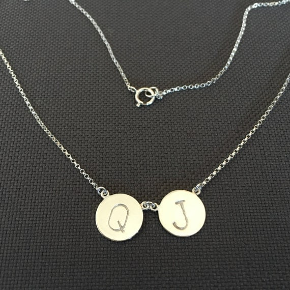 Double Initial Necklace gold,Double Disc Necklace,Personalized Necklace,Initial Disc Necklace,custom mom Necklace,Initial Charm Necklace