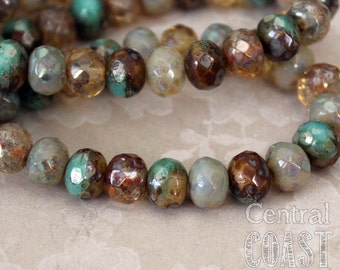 7mm x 5mm Czech Glass Picasso Bead Spacer Rondelle Rondell (25) Bohemian Gypsy Luxe Champagne Turquoise Opalite Mix - Central Coast Charms