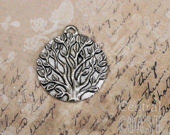 Tree of Life Disc Coin Charm Pendant - Antique Silver Pewter - 26mm - Spiritual Religious Zen Metaphysical Bohemian - Central Coast Charms