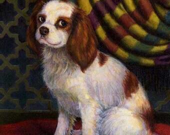 Cavalier King Charles Portrait - Dog Portrait Print - Spaniel Portrait - Dog Painting - Dog Art