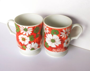 Two 1970s Floral Pedestal Coffee Cups