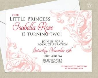 Girls Pink Antique Invitation - Engraved Princess Invitation - Little Girls Formal Princess Invitation