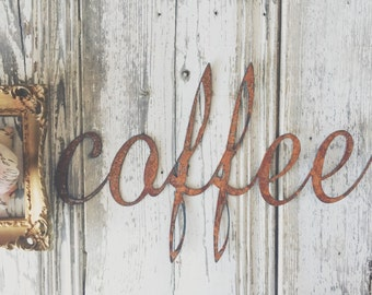 Cute { coffee } Rusty Metal Letters Sign Wedding Decor