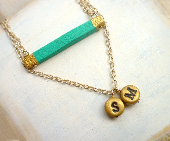 Letter bar necklace, 2 initials necklace, boho jewelry, Christmas Gifs for mom, kids initials, simple layered necklace, sea green turquoise