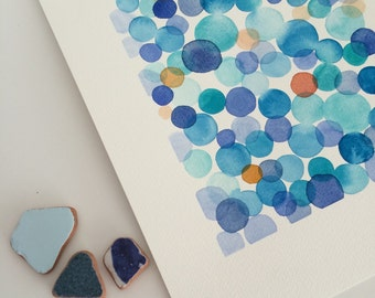 Original Watercolor Painting blue dots - Minimal Abstract painting - white blue painting Splash Modern Wall Art