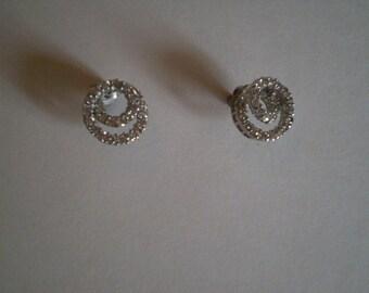 Vintage VORTEX Rhinestone Stud Earrings