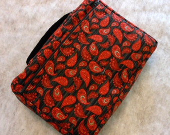 Bible Cover Red Paisley on Black
