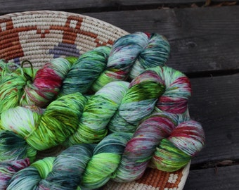 California Girls - Hand Dyed Sock Yarn - MCN yarn - Superwash yarn - Green Pink Teal - dyed by Stimpylab