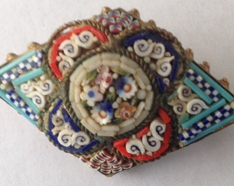 Vintage Micro Mosaic Brooch Signed Made in Italy