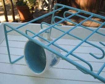 Aqua Dish Organizer - Turquoise Mug Cup Rack - Metal Rubber Coated - Oak Hill Vintage