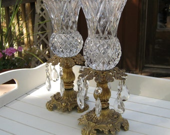 L & L WMC Crystal and Brass Candle Holders - Hollywood Glam - Oak Hill Vintage