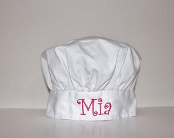 Personalized White Child Size Chef Hat - Choose Embroidery Color
