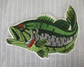 """Huge Vintage 6"""" SEW ON Iron On Patch Sea Bass Fish Green Silver Red Fisherman Angler Embroidered Large Patch Jacket Vest Shirt Ocean Fishing"""