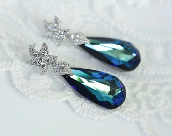 Starfish Bermuda Blue Earrings,Starfish Earrings, Bermuda Blue Earrings, Bridal Earrings, Bridesmaids Earrings, Beach Wedding Destination