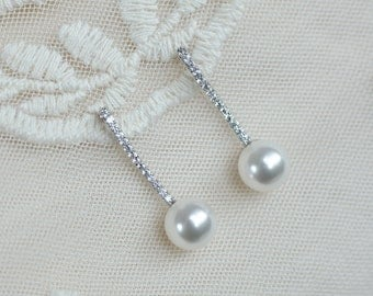 Bridal Earrings, Bridal Pearl earrings, Cubic Zirconia Bridal Pearl Earrongs, Bridal Stud Earrings, Bridesmaids Earrings,White Pearl Jewelry