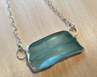 antique mason jar sea glass sterling silver necklace