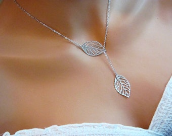 Delicate Leaf Lariat Necklace- silver or gold finish, spring to fall, modern, simple everyday elegant style.