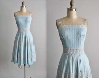 50's Dress // Vintage 1950's Baby Blue Cotton Lace Full Garden Party Summer Pinup Dress XS