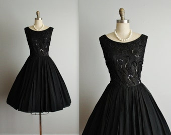 50's Chiffon Dress // Vintage 1950's Black Sequin Chiffon Lace Full Cocktail Party Dress L