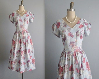 50's Floral Dress // Vintage 1950's Floral Print Full Cotton Garden Party Day Dress