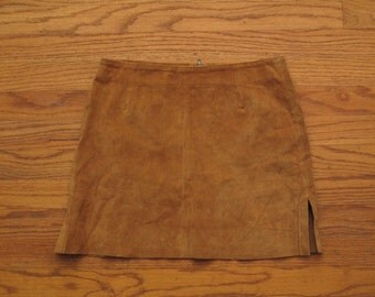womens vintage suede mini skirt