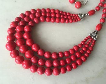 RED FIRE-red necklace earrings set, layered, cascade, Best Seller, statement, big, bold, chunky, multi-strand, multistrand, handmade, beaded