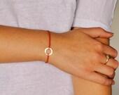 Red String Bracelet, Gold Circle Bracelet, Red Silk Bracelet, Kabbalah, Layering Bracelet, Friendship Bracelet, Hammered Circle, Open Disc