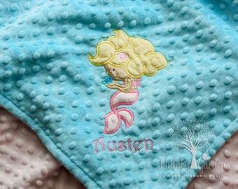 Personalized Minky Baby Blanket, Mermaid Appliqued Minky Blanket, Baby Girl Minky Blanket, Personalized Baby Gift, Mermaid Nursery