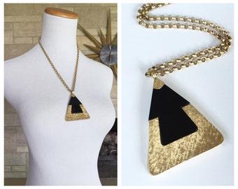 1970s Pendant Necklace * Geometric Triangle * Signed Sarah Cov * Encounter Necklace