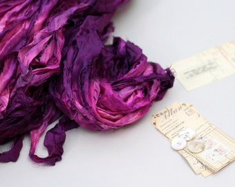 """Recycled Sari Ribbon ,by the yard, """"Flamenco"""" hand dyed chiffon ribbon, jewelry making, doll clothing, spinning supplies"""