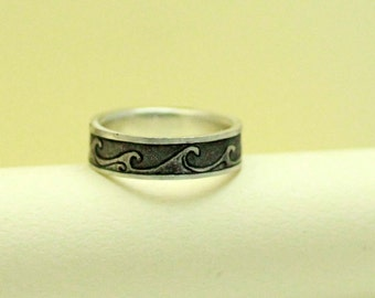 Rustic Sterling Silver Handmade Wave Ring, Comfort Fit Band, Sterling Silver, Engraved... 6x2mm