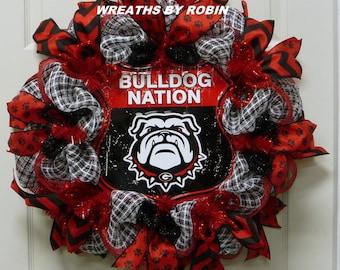 Georgia Sports Wreaths, Georgia College Wreaths, UGA, Bulldog Nation (2220)