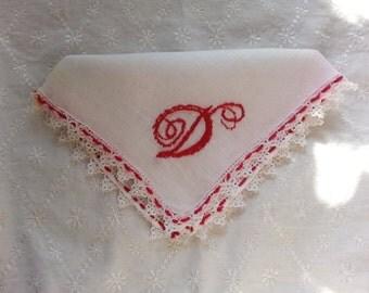 Custom-made, hand-embroidered, monogrammed hankies