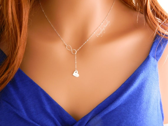 Silver Lariat Necklace / Y Necklace/ Infinity Necklace / Initial Heart Charm Necklace / Girlfriend Gift / Wedding Jewelry / Bridesmaid Gift
