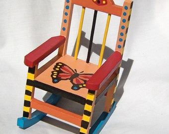 Tiny Doll Rocking Chair Monarch Butterfly Design