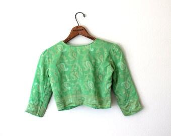 1970s Green Crop Top // Sari Choli // Extra Small