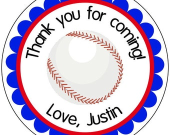baseball party stickers, custom baseball labels, sports party stickers, baseball birthday stickers, red and blue sports stickers, 3 sizes