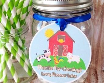 farm birthday tags, farm party hang tags, custom farm animal party tags, custom boy birthday hang tags--set of 12