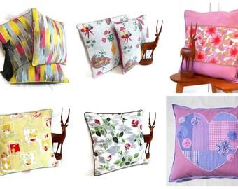 Retro Cushions in Vintage Fabric from WittyDawn  50s, 60s, 70s Barkcloth Heals Boras Jonelle Osman Fothergay textiles