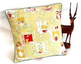 SALE 50s Pictoral YELLOW Barkcloth Vintage Fabric Cushion Cover with  vase and plant design